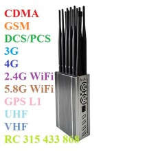 Portable Jammer Full Bands Mobile Phone 4G/3G/2G + WiFi2.4G/5.8G + GPSL1 + LOJACK + RC433 315 868