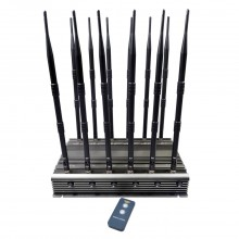 New Powerful Adjustable All Cellphone 2G/3G/4G + WIFI(2.4G,5.8G)  + LOJACK + UHF + VHF Signal Jammer 12 Antennas Desktop with Remote Control