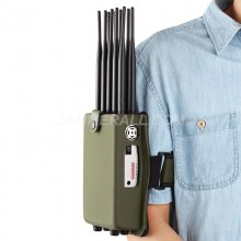 10 Antennas Portable Mobile Phone Signal Jammer Block GPS WIFI 2.4G 5.8G  LOJACK with Bigger Hot Sink & Battery