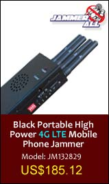 Black Portable High Power 4G LTE Mobile Phone Jammer