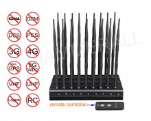Adjustable All-in-one Desktop Cell Phone Signal 2G/3G/4G + WiFi 2.4G 5.2G 5.8G + All GPS + RC + UHF/VHF Jammer With 18 Antennas