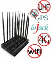 Newest 12 Antennas Powerful Cell Phone 3G 4G WiFi GPS VHF UHF LoJack All Bands Signal Jammer with Power Adjustable