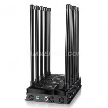 260W 10 Antennas Signal Jammer with Intelligent Cooling System,Blocking 2G,3G,4G, WIFI,GPS,Lojack