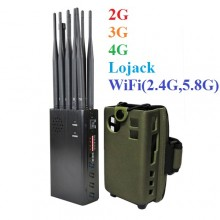 10 Antennas Plus Portable Jammer Mobile Phone 2G/3G/4G + LOJACK + GPSL1 + WiFi(2.4G, 5.8G) Signal Blocker
